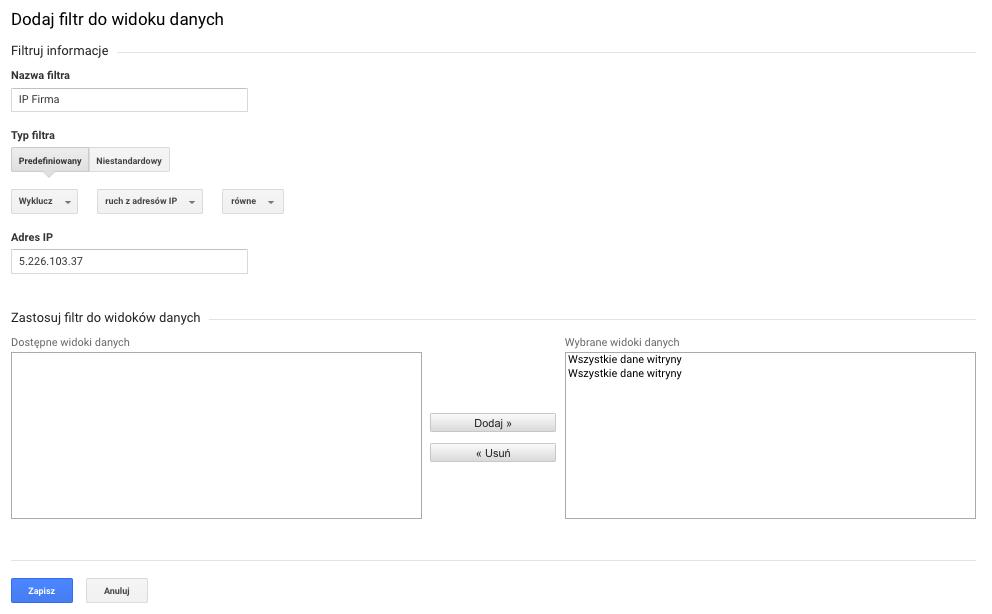 Jak dodać filtr ip do google analytics