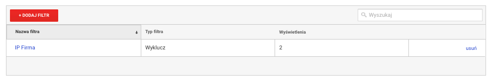 Jak dodać filtr IP w Google Analytics - Dodaj