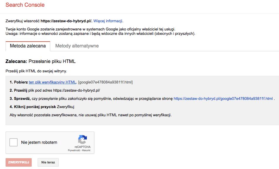 Jak dodać/wstawić kod Google Search Console na stronę w WordPress - weryfikacja domeny