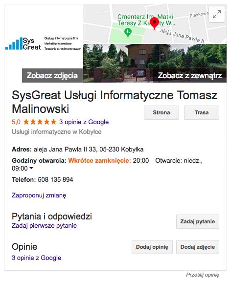 Google Moja Firma (wizytówka Google) Cena