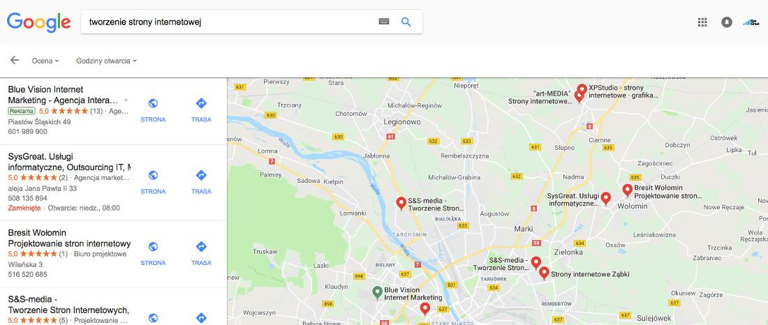 Google Moja Firma (wizytówka Google) - wyświetlanie na frazy